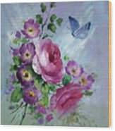 Rose And Butterfly Wood Print