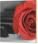 Rose And Piano Wood Print