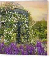 Rose Arbor At Sunset Wood Print