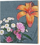 Rose Baby Breath And Lilly Wood Print