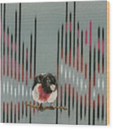 Rose Breasted Grosbeak And Song Wood Print