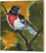 Rose Breasted Grossbeak Wood Print