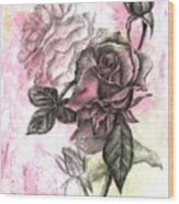 Rose Bud Pink Wood Print