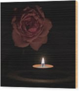 Rose Candle Wood Print