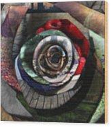 Rose - Collaged Petals Wood Print