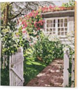 Rose Cottage Gate Wood Print by David Lloyd Glover