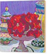 Rose Covered Cake Wood Print