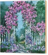 Rose-covered Trellis Wood Print