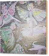 Rose Fairies Wood Print