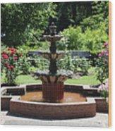Rose Garden Fountain Wood Print