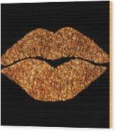 Rose Gold Texture Kiss, Lipstick On Pouty Lips, Fashion Art Wood Print