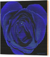 Rose Heart In Blue Velvet Wood Print