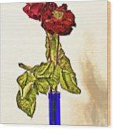 Rose In Blue Vase Wood Print