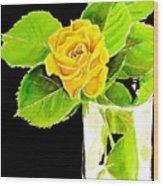 Rose In Vase Wood Print