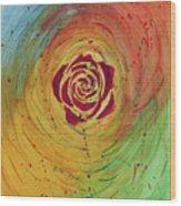 Rose In Vorteks Wood Print