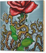 Rose N Thorns Wood Print