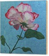Rose On Blue Wood Print