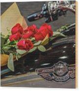 Harley Davidson And Roses Wood Print