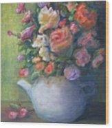 Rose Petal Tea Pot Wood Print