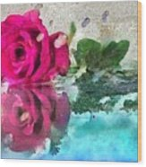 Rose Reflected Fragmented In Thick Paint Wood Print