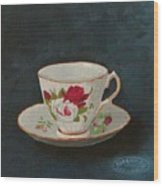 Rose Teacup Wood Print