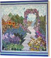 Rose Trellis Garden Wood Print by Sarah Hornsby