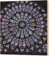 Rose Window At Notre Dame Cathedral Paris Wood Print