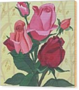 Rose With Roses Wood Print