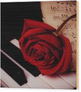 Rose With Sheet Music On Piano Keys Wood Print