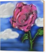 Rose Within The Clouds Wood Print