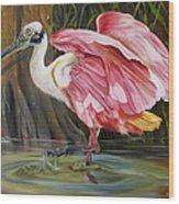 Roseate Spoonbill In A Cypress Swamp Wood Print