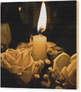 Roses And Candle Wood Print