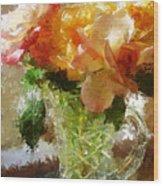 Roses And Crystal Wood Print