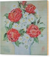 Roses And Daises Wood Print