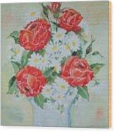 Roses And Daises Wood Print