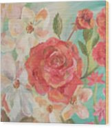 Roses And Flowers Wood Print