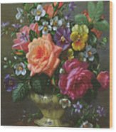 Roses And Pansies Wood Print