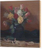 Roses And Pearls Wood Print