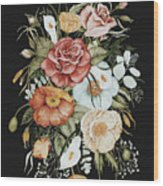 Roses And Poppies Bouquet Wood Print