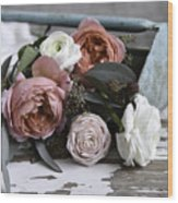 Roses And Rust Wood Print