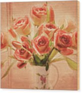 Roses And Tulips Wood Print