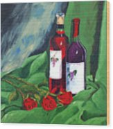 Roses And Wine Wood Print
