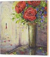Roses And Woman Wood Print
