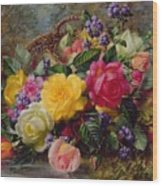 Roses By A Pond On A Grassy Bank  Wood Print by Albert Williams