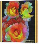 Roses For Anne Catus 1 No. 3 V A With Decorative Ornate Printed Frame. Wood Print