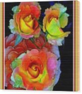 Roses For Anne Catus 1 No. 3 V B With Decorative Ornate Printed Frame. Wood Print