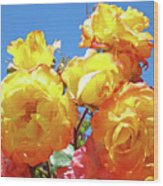Roses Garden Summer Art Print Blue Sky Yellow Orange Wood Print
