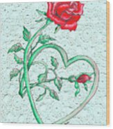 Roses Hearts And Lace Flowers Design  Wood Print