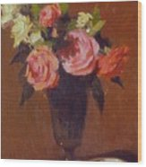 Roses In A Glass Impression Wood Print
