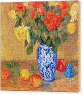 Roses In A Mexican Vase Wood Print